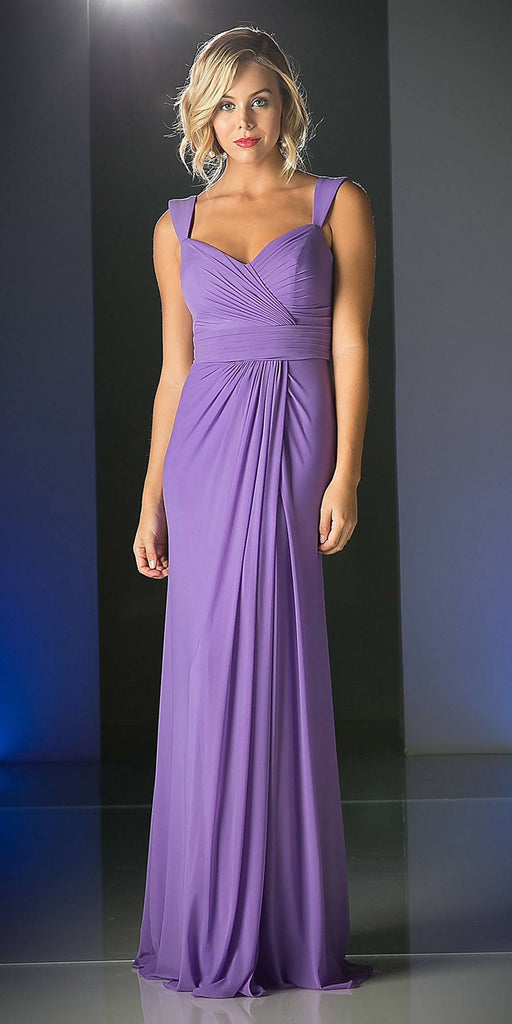 Cinderella Divine C7457 Wide Shoulder Strap Sweetheart Evening Dress Violet