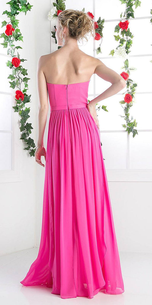 Cinderella Divine C7460 Flowy Chiffon Empire Waist Dress Full Length Dress Hot Pink