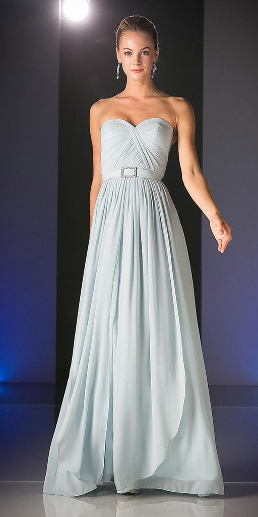 Cinderella Divine C7460 Flowy Chiffon Empire Waist Dress Full Length Dress Light Gray