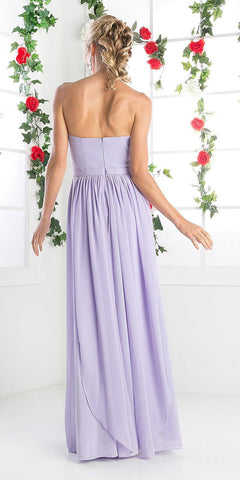 Cinderella Divine C7460 Flowy Chiffon Empire Waist Dress Full Length Dress Lilac