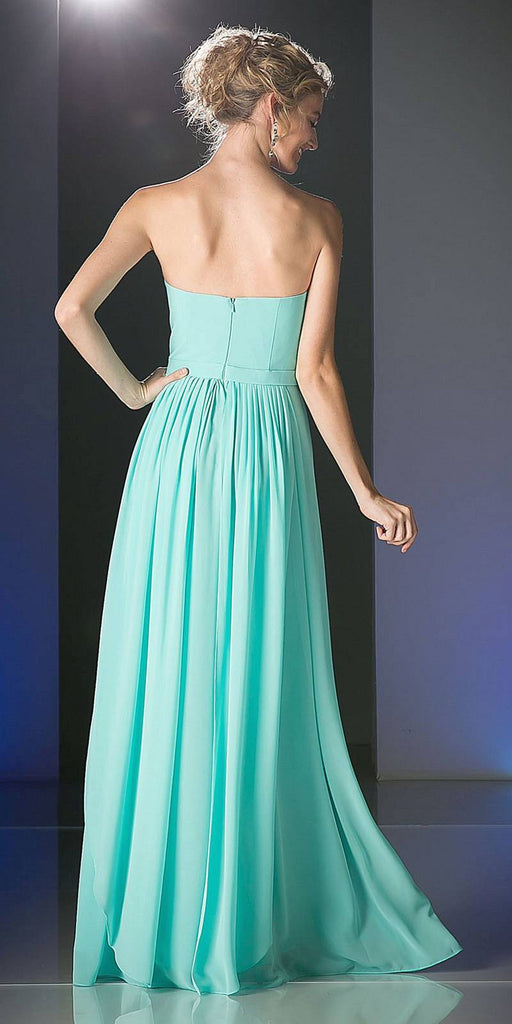 Cinderella Divine C7460 Flowy Chiffon Empire Waist Dress Full Length Dress Mint