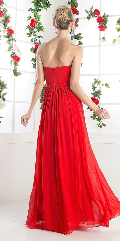 Cinderella Divine C7460 Flowy Chiffon Empire Waist Dress Full Length Dress Red