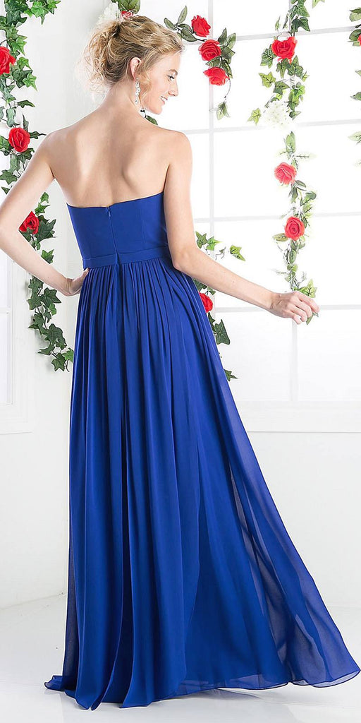 Cinderella Divine C7460 Flowy Chiffon Empire Waist Dress Full Length Dress Royal Blue