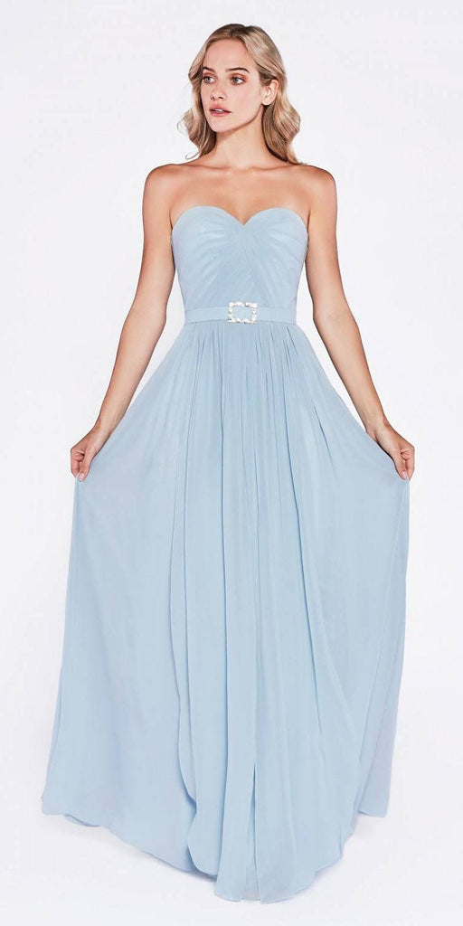 Cinderella Divine C7460 Flowy Chiffon Empire Waist Dress Full Length Dress Sky Blue