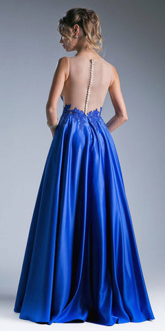 Illusion Appliqued Bodice Long Prom Dress Royal Blue
