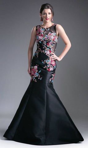 Illusion Mermaid Prom Gown Beaded and Embroidered Black