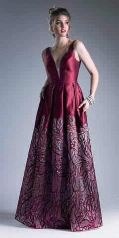 Burgundy Deep V-Neck Pleated Prom Gown with Pockets