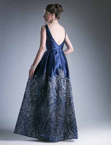 Navy Blue Deep V-Neck Pleated Prom Gown with Pockets