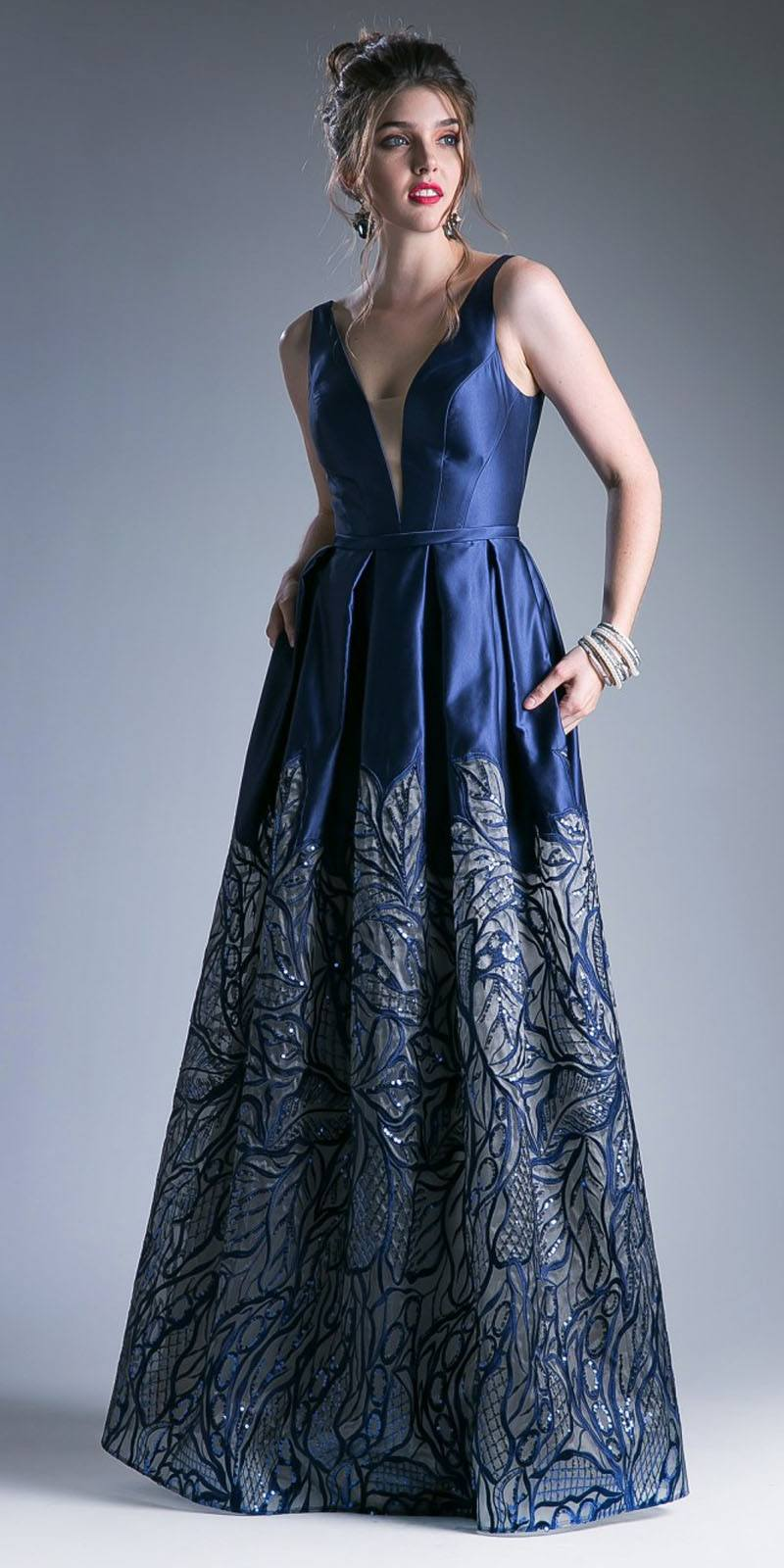 Cinderella Divine C80142 Navy Blue Deep V-Neck Pleated Prom Gown ... c3cf5ce2c