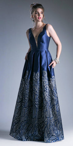 4c1d387ed2 Navy Blue Deep V-Neck Pleated Prom Gown with Pockets