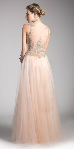 Sleeveless Bateau Neck Long Prom Dress Embroidered Blush