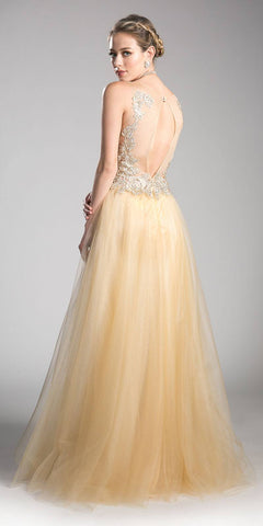 Champagne Appliqued Prom Gown Cut-Out Back