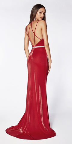 Cinderella Divine C81188 Sexy Fitted Deep Plunging Neckline Gown Red Beaded Belt Leg Slit