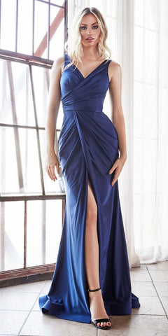 Halter Ruched Bodice Long Formal Dress Navy Blue