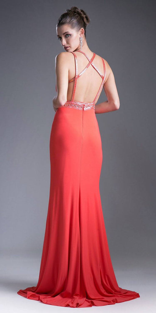 Coral Strappy-Back Long Prom Dress V-Neck