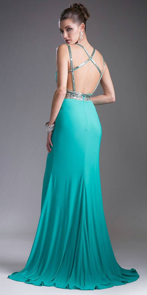 Jade Strappy-Back Long Prom Dress V-Neck
