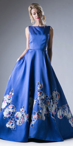 Cinderella Divine CA303 Long Satin Floral Ball Gown Royal Blue Bateau Neckline