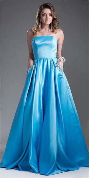 Strapless Prom Ball Gown Embellished Pockets Turquoise