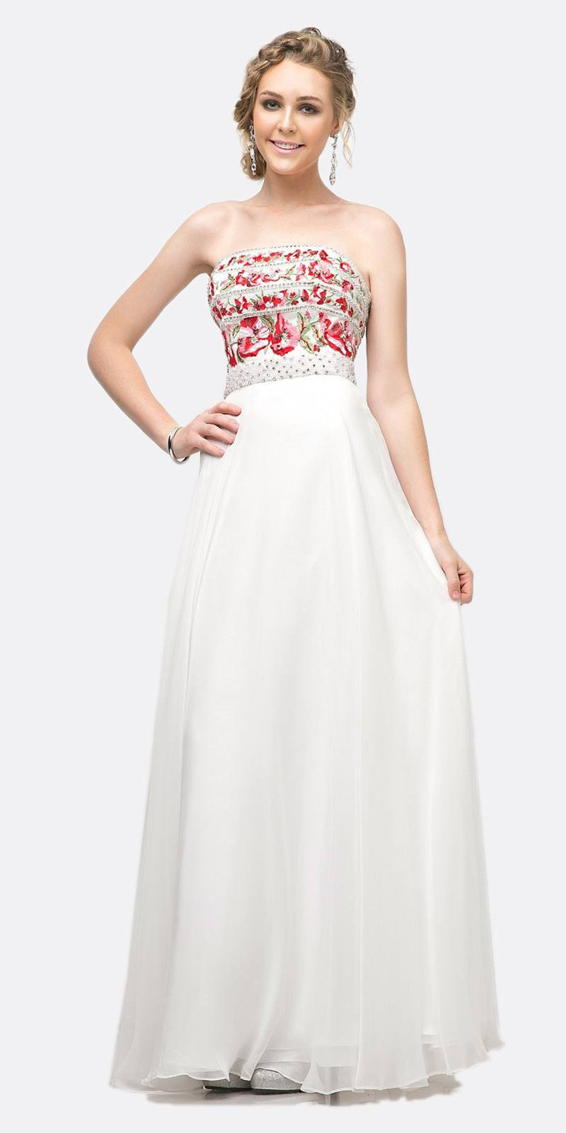 35dc76ff54 Cinderella Divine CA311 Strapless A-Line Floral Gown White Beaded Details  Chiffon Skirt ...