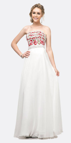 Cinderella Divine CA311 Strapless A-Line Floral Gown White Beaded Details Chiffon Skirt