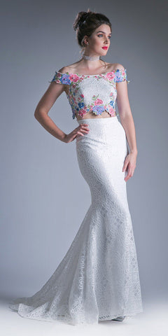 Cinderella Divine CA314 Two Piece Off The Shoulder Fitted Dress Embroidered Floral Appliques Lace Detailed Skirt