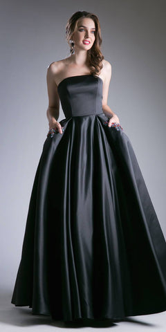 Beaded Satin Ball Black Gown A Line Strapless With Pockets