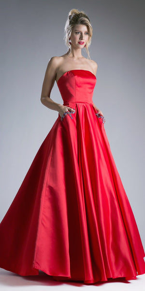 Beaded Satin Ball Red Gown A Line Strapless With Pockets
