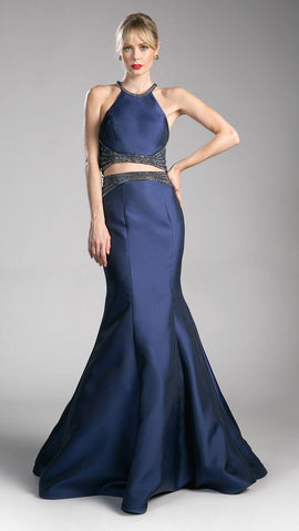 Two-Piece Mermaid Prom Gown Halter Crop Top Navy Blue