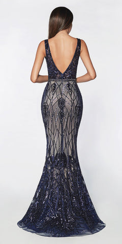 Cinderella Divine CB0026 Long Fitted Geometric Sequin Gown Navy Blue Bateau Neckline Open Back