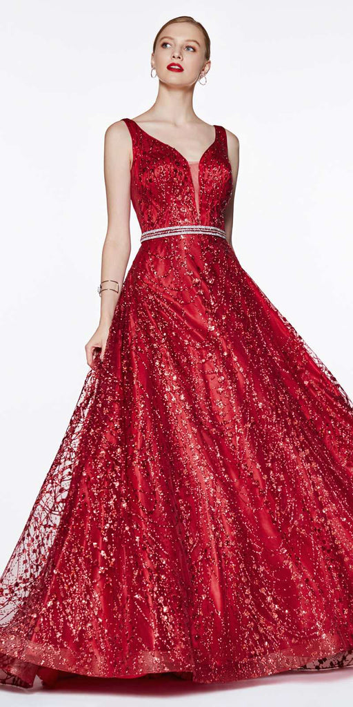 Cinderella Divine CB0028 Glitter Detailed Red Ball Gown With Deep Plunge and Open Back