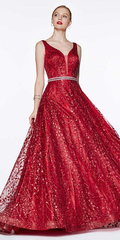 Lace Appliqued Bodice Long Formal Dress Off-Shoulder Red