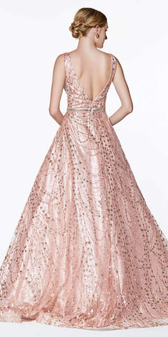 Cinderella Divine CB0028 Glitter Detailed Rose Gold Ball Gown With Deep Plunge and Open Back