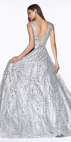 Cinderella Divine CB0028 Glitter Detailed Silver Ball Gown With Deep Plunge and Open Back