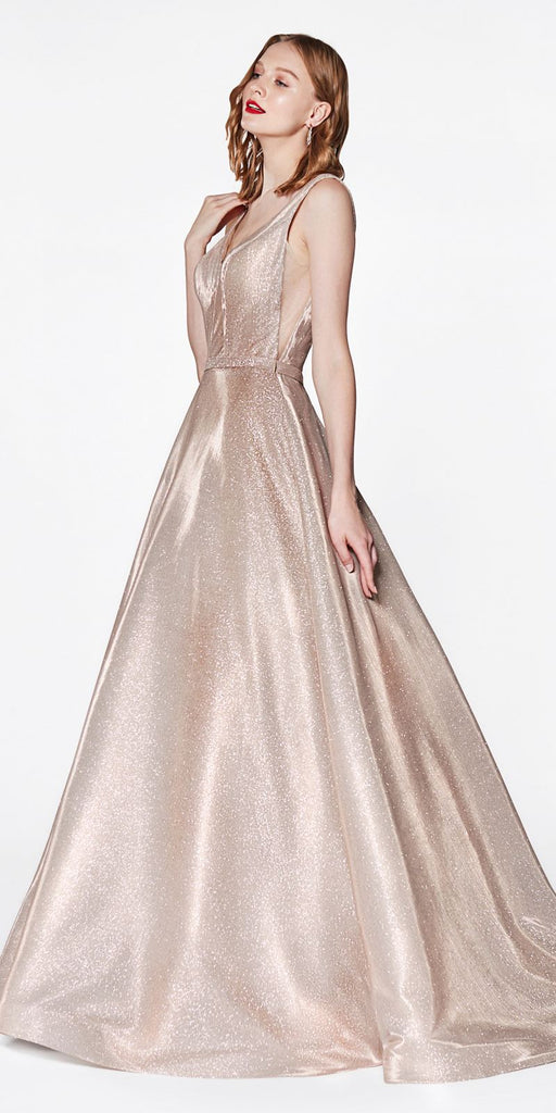 Champagne Glitter Ball Gown with Deep Plunge Neckline and Illusion Sides