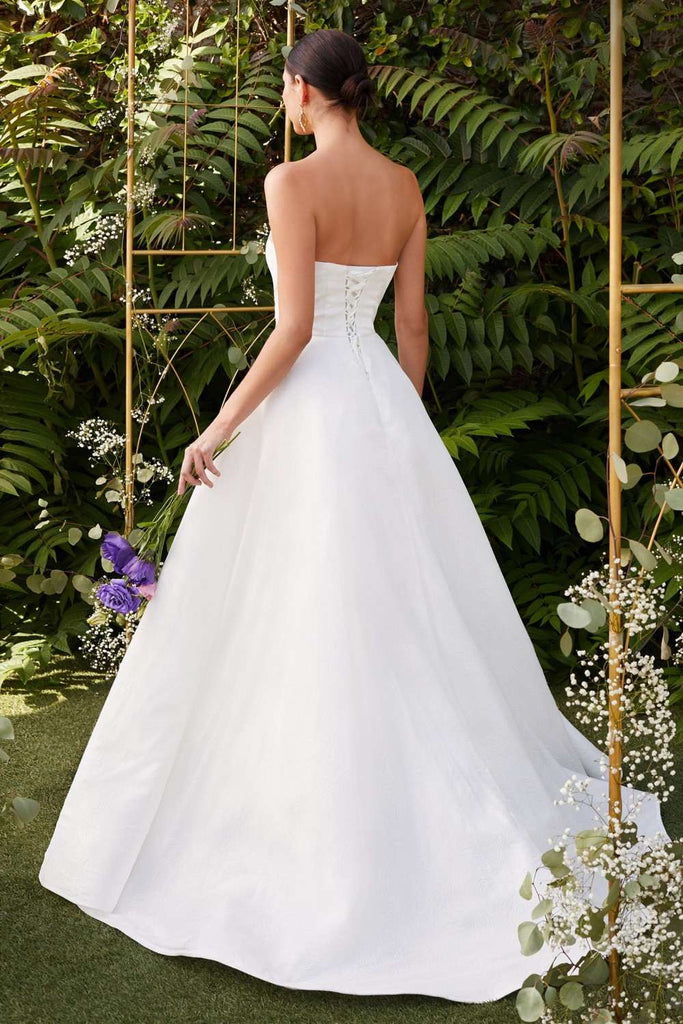 Cinderella Divine CB0033 Strapless Off White Wedding Ball Gown Glitter Swirl Detail Corset Lace Up Back