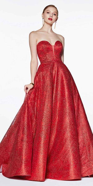 Strapless Ball Gown Red Glitter Swirl Detail and Corset Lace Up Back