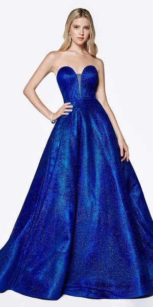 Strapless Ball Gown Royal Blue Glitter Swirl Detail and Corset Lace Up Back