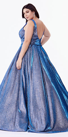 Glittered Ball Gown with Deep Plunge Neckline and Pockets