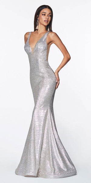 Cinderella Divine CB0035 Fitted Sparkle Gown Champagne Floor Length Illusion Sides Open Back