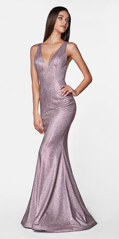 Cinderella Divine CB0035 Fitted Sparkle Gown Rose Pink Floor Length Illusion Sides Open Back