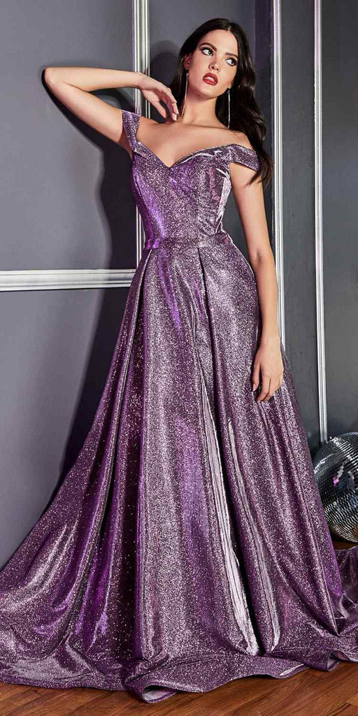 Cinderella Divine CB0036 Off the Shoulder Purple Ball Gown with Glitter Effect and Pockets