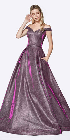 Purple A-Line Metallic Long Prom Dress with Pockets