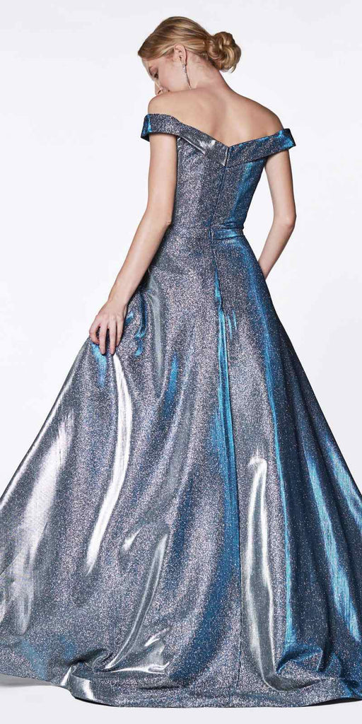 Cinderella Divine CB0036 Off the Shoulder Royal Blue Ball Gown with Glitter Effect and Pockets