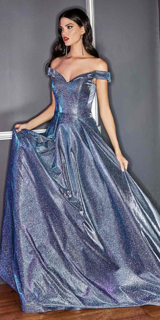 Long Royal Blue Glitter A-Line Dress With Pockets Off The Shoulder Strap