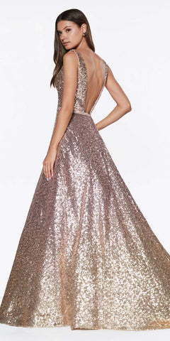 Ombre Sequin Ball Gown Gold/Pink Deep Plunging Neckline Open Back