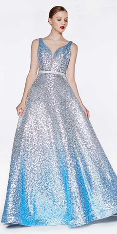 Ombre Sequin Ball Gown Silver/Blue Deep Plunging Neckline Open Back