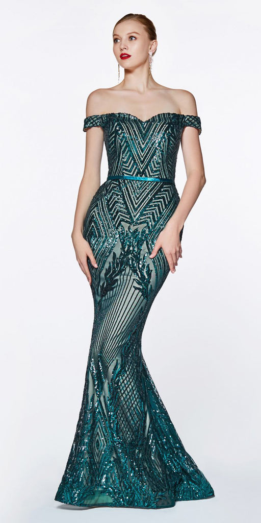 Off The Shoulder Green Gown Geometric Sequin Detail Sweetheart Neckline