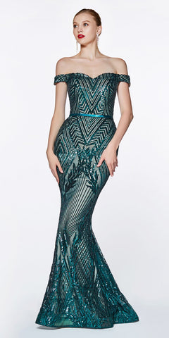 c84f9e0229 Off The Shoulder Green Gown Geometric Sequin Detail Sweetheart Neckline
