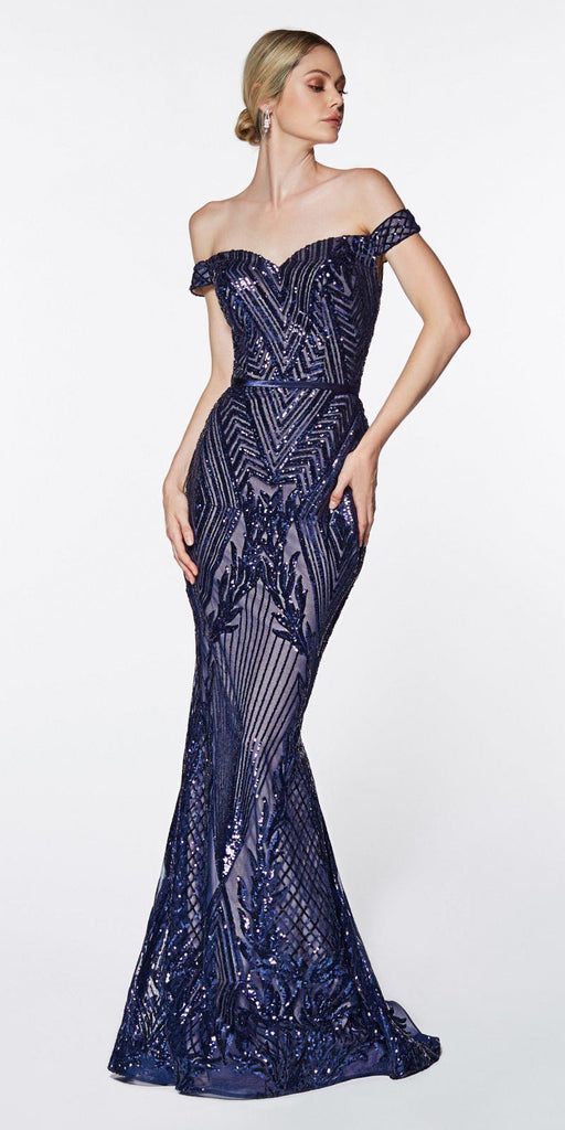 Off The Shoulder navy Blue Gown Geometric Sequin Detail Sweetheart Neckline