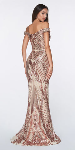 Off The Shoulder Rose Gold Gown Geometric Sequin Detail Sweetheart Neckline